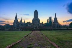 Wat Chaiwattanaram at ancient city. Landscape of world heritage site of Wat Chaiwattanaram at ancient city, Ayuthaya, Thailand before sunrise Stock Photography