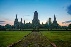 Wat Chaiwattanaram at ancient city. Landscape of world heritage site of Wat Chaiwattanaram at ancient city, Ayuthaya, Thailand before sunrise Royalty Free Stock Photos