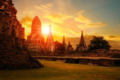Wat chaiwattanaram ayutthaya province world heritage site of une. Sco in central of thailand Royalty Free Stock Images
