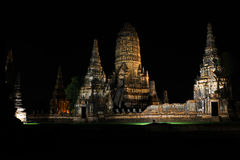 Wat Chaiwattanaram at night time Stock Photography