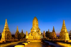 Wat Chaiwattanaram temple at dawn , Ayutthaya, Thailand. Wat Chaiwattanaram temple at dawn in the archaeological park of Ayuthaya in Thailand Royalty Free Stock Photography