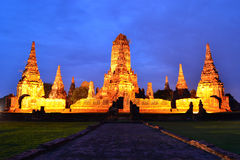 Wat Chaiwattanaram in twilight. The famous ancient temple in twilight Royalty Free Stock Photos