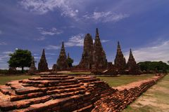Wat Chaiwatthana Ram, het Historische Park Thailand van Ayutthaya Stock Fotografie