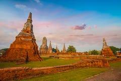 Wat Chaiwatthanaram寺庙在Ayuthaya历史公园,泰国 库存图片
