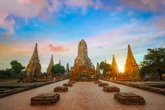 Wat Chaiwatthanaram寺庙在Ayuthaya历史公园,泰国 免版税库存图片