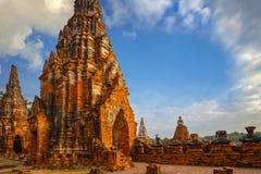 Wat Chaiwatthanaram寺庙在Ayuthaya,泰国 库存照片