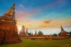 Wat Chaiwatthanaram寺庙在Ayuthaya,泰国 图库摄影