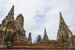 Wat Chaiwatthanaram是一座古庙在阿尤特拉利夫雷斯 图库摄影