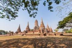 Wat-chaiwatthanaram阿尤特拉利夫雷斯泰国 库存照片