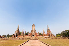 Wat-chaiwatthanaram阿尤特拉利夫雷斯泰国 免版税库存图片