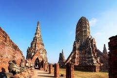 Wat Chaiwatthanaram,佛教寺庙在市阿尤特拉利夫雷斯 免版税图库摄影