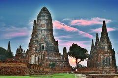 Wat Chaiwatthanaram,佛教寺庙在阿尤特拉利夫雷斯,泰国 免版税库存图片