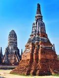 Wat Chaiwatthanaram,佛教寺庙在阿尤特拉利夫雷斯,泰国 免版税库存照片