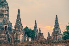Wat Chaiwatthanaram, буддийский висок, парк Ayutthaya исторический, Стоковые Изображения
