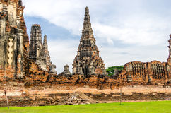 Wat Chaiwatthanaram in the city of Ayutthaya, Thailand. It is on. The Ayutthaya historical park covers the ruins of the old city of Ayutthaya, Thailand. The park Royalty Free Stock Photo