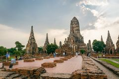 Wat Chaiwatthanaram dans Ayuthaya, Thaïlande images stock