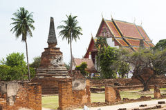 Wat Chaiwatthanaram del vecchio tempio di Ayuthaya Fotografia Stock Libera da Diritti