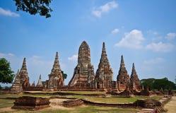 Wat Chaiwatthanaram för gammal tempel av det Ayuthaya landskapet Arkivbild