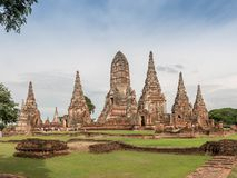 Wat Chaiwatthanaram in historischem Park Ayutthaya Stockfotos