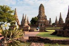 Wat Chaiwatthanaram il tempio in Tailandia Fotografia Stock Libera da Diritti