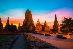 Wat Chaiwatthanaram, parque histórico de Ayutthaya, Ayutthaya, Tailândia Fotos de Stock Royalty Free
