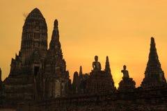 Wat Chaiwatthanaram. Sunset at wat Chaiwatthanaram of Ayuthaya Province stock photography