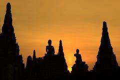 Wat Chaiwatthanaram. Sunset at wat Chaiwatthanaram of Ayuthaya Province stock image