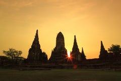 Wat Chaiwatthanaram. Sunset at wat Chaiwatthanaram of Ayuthaya Province royalty free stock photography