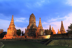 Wat Chaiwatthanaram. Sunset at Wat Chaiwatthanaram, Ayutthaya - Thailand royalty free stock photo