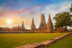 Wat Chaiwatthanaram-tempel in het Historische Park van Ayuthaya, Thailand Royalty-vrije Stock Foto