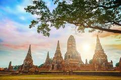 Wat Chaiwatthanaram-tempel in het Historische Park van Ayuthaya, Thailand Royalty-vrije Stock Afbeelding