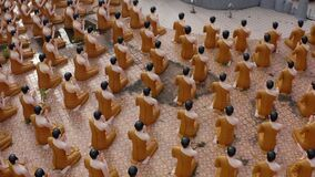 Wat Chak Yai temple, golden buddha and hundreds of monks, in Chanthaburi, Thailand