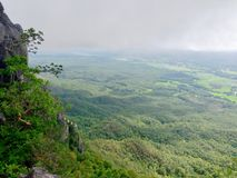 Wat Chaloem Phrakiat Phrachomklao Rachanuson at Chae hom, Lampang, Thailand. Buddhist temple and pagoda on rock mountain have clou. Ds and fog. Forest top view Stock Photography