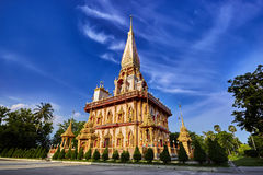 Wat Chalong temple at sunny evening Phuket Thailand Royalty Free Stock Images