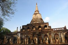 Wat Chang Lom, Si Satchanalai Historical Park Royalty Free Stock Photos