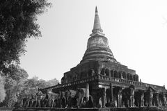 Wat Chang Lom, Sukhothai, Tailândia fotos de stock royalty free