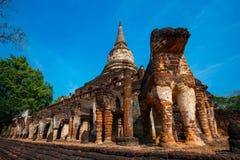 Wat Chang Lom Temple en el parque histórico del Si Satchanalai, un sitio del patrimonio mundial de la UNESCO en Sukhothai Imagenes de archivo
