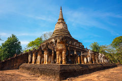 Wat Chang Lom Temple at Si Satchanalai Historical Park, a UNESCO world heritage site in Sukhotha, Thailand Royalty Free Stock Photo