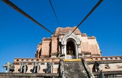 Wat Chedi Luang. Ancient Pagoda build from brick at Wat Chedi Luang in Chiang Mai Thailand stock photos