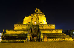Wat Chedi Luang in Chiang Mai, at night Thailand Royalty Free Stock Images