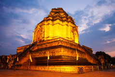 Wat Chedi Luang in the evening. Chiang Mai Royalty Free Stock Photos