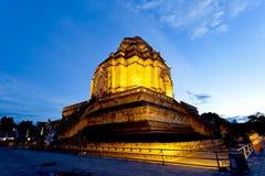 Wat Chedi Luang Tempel am Sonnenuntergang, Chiang Mai, Thailand. stockfotografie