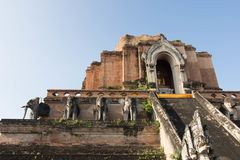The Wat Chedi Luang Temple in Chang Mai Thailand stock photography