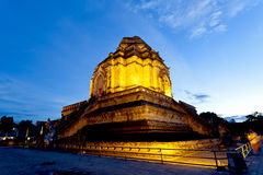 Wat Chedi Luang temple at sunset, Chiang Mai, Thailand. Stock Photography