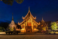Wat Chedi Luang temple at sunset Stock Image
