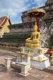 在Wat Chedi Luang Worawihan,清迈的菩萨雕象 免版税库存照片