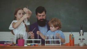 Wat in chemie wordt onderwezen Lessenplannen - Lage schoolchemie Terug naar school en huis het scholen stock video