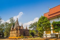 Wat Chet Yot (Wat Jed Yod) or Wat Photharam Maha Vihara, the public Buddhist temple with crowning the flat roof of the rectangular royalty free stock image