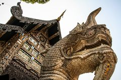 Stone dragon at the Wat Chiang Man temple, Chiang Mai, northern Thailand. Wat Chiang Man is a Buddhist temple Thai language: Wat inside the old city which is stock photography
