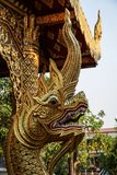 Golden dragon head at the Wat Chiang Man temple, Chiang Mai, northern Thailand. Wat Chiang Man is a Buddhist temple Thai language: Wat inside the old city which stock photos